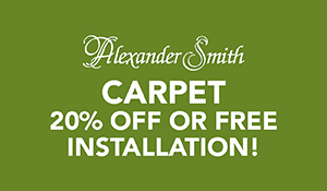 Save on Alexander Smith Carpet 20% off or Free Installation at Abbey Carpet & Floor in Adrian, MI